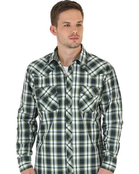 Wrangler 20X Men's Plaid Western Long Sleeve Shirt, Olive, hi-res