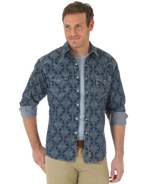 Wrangler Men's Retro Diamond Long Sleeve Shirt, Navy, hi-res