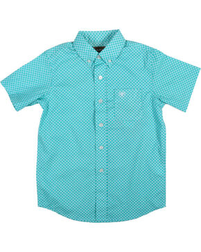 Ariat Boys' Garry Short Sleeve Shirt, Turquoise, hi-res