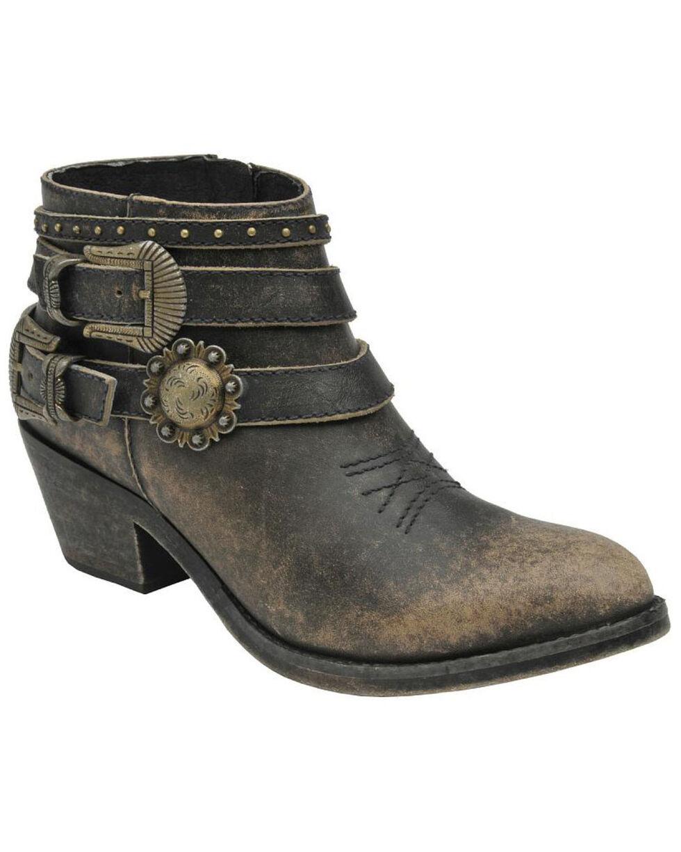 Circle G Women's Multi-Strap Shortie Boots, Black, hi-res