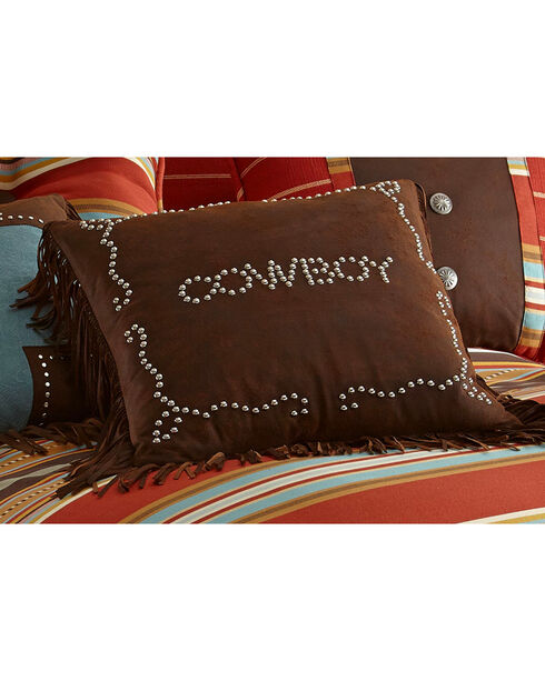 HiEnd Accents Cowboy Studded Faux Leather Pillow, Multi, hi-res
