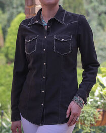 Ryan Michael Women's Black Whip Stitch 152 Shirt , , hi-res