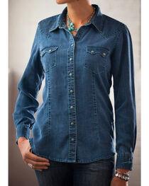 Ryan Michael Women's Indigo Saw Tooth Pocket Tencel Shirt, , hi-res