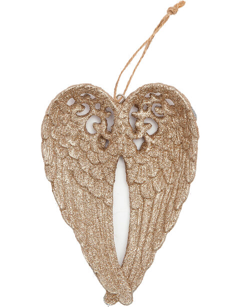 BB Ranch Gold Glitter Wings Ornament, Gold, hi-res