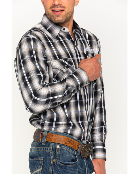 Jack Daniels Men's Embroidered Textured Plaid Long Sleeve Shirt, Black, hi-res