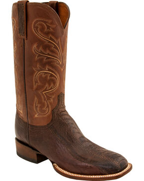 Lucchese Men's Burnished Ostrich Exotic Boots, Brown, hi-res