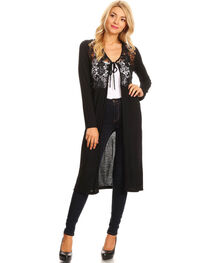 Young Essence Women's Long Sleeve Lace Detail Duster, , hi-res