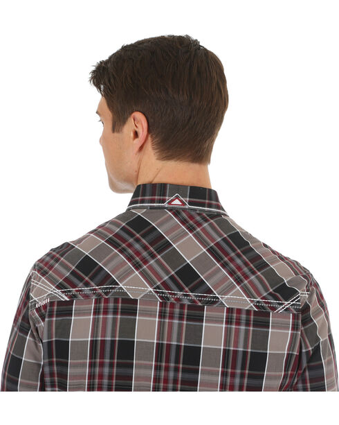 Wrangler Rock 47 Men's Plaid Embroidered Long Sleeve Snap Shirt - Big & Tall, Black, hi-res