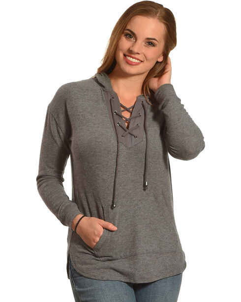Derek Heart Women's Lace Up Hoodie, Grey, hi-res