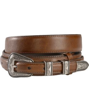 Leather Billet Overlay Ranger Belt, Brown, hi-res