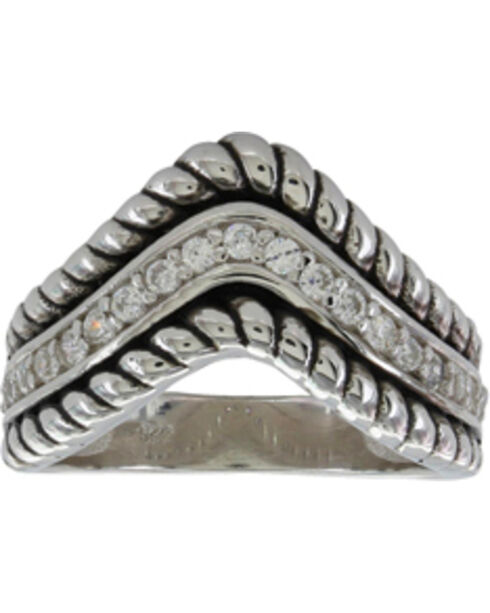 Montana Silversmiths Women's Roped Crown Ring, Silver, hi-res