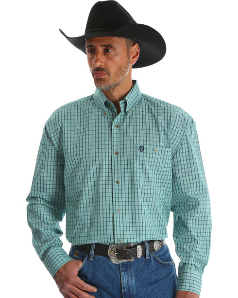 Wrangler Men's Green George Strait Button Down Shirt , Green, hi-res