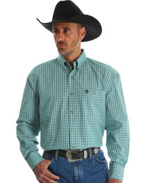 Wrangler Men's Green George Strait Button Down Shirt - Big & Tall , , hi-res