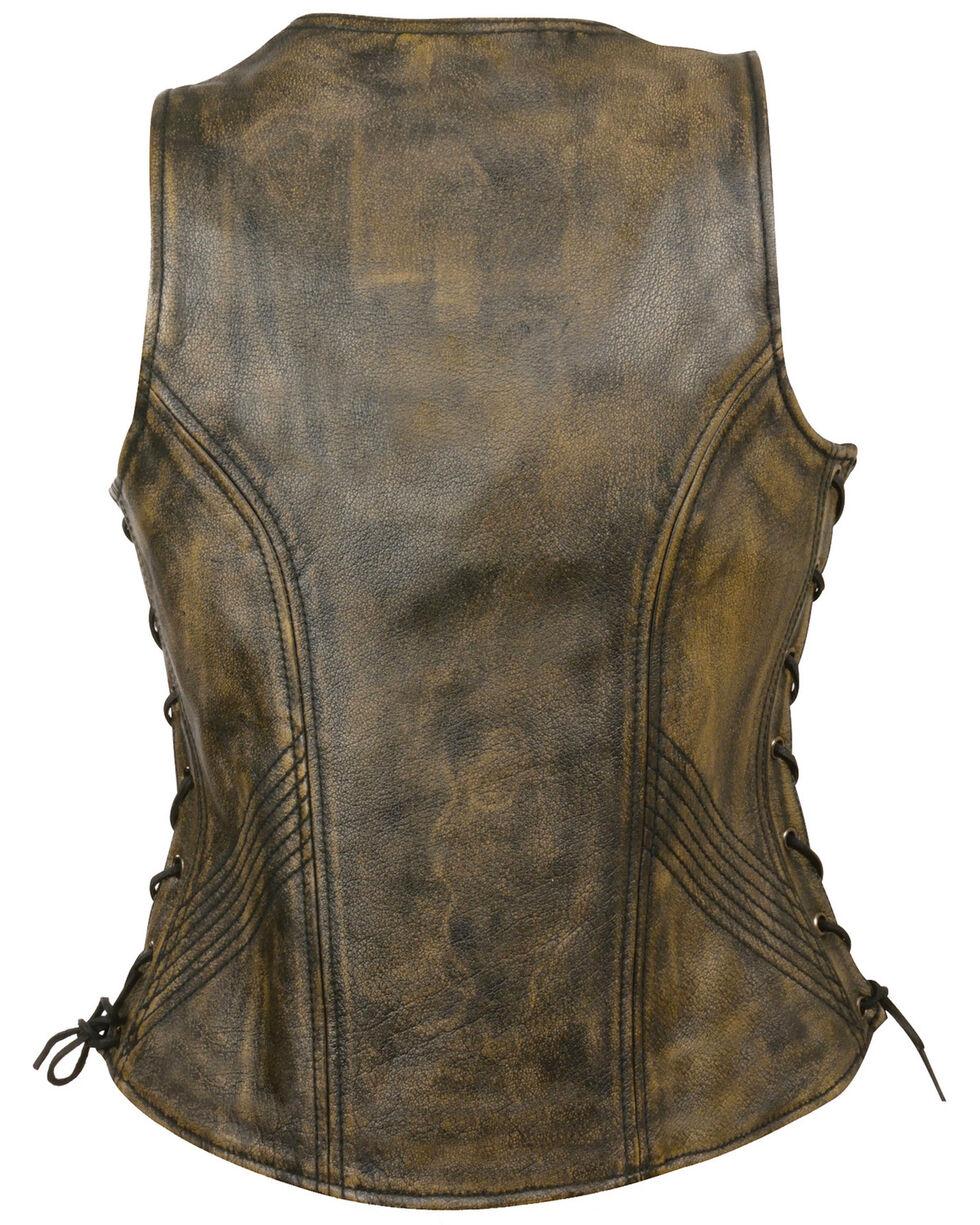 Milwaukee Leather Women's Open Neck Side Lace Zipper Front Vest - 4X, , hi-res