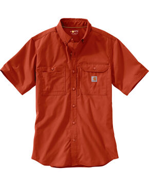 Carhartt Men's Spice Force Ridgefield Short Sleeve Solid Shirt - Big and Tall, Chili, hi-res