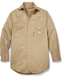 Rasco Men's Khaki FR Lightweight Twill Work Shirt , , hi-res