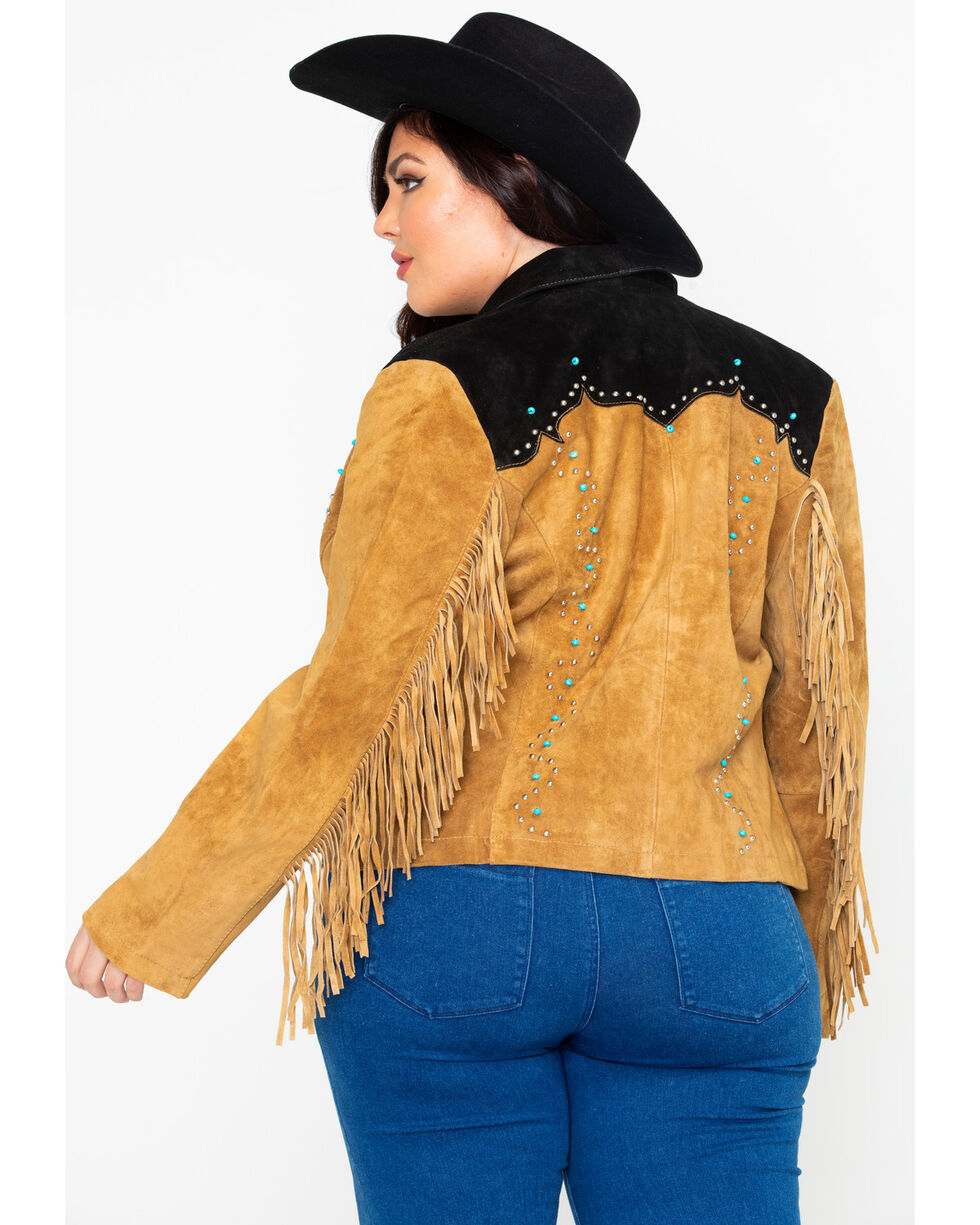 Liberty Wear Women's Suede Fringe Studded Jacket - Plus, Brown, hi-res
