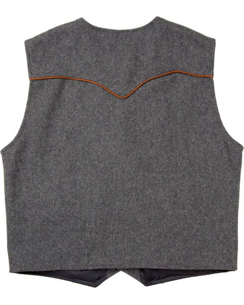Schaefer Outfitter Men's Charcoal Stockman Melton Wool Vest - 2XLT, Charcoal, hi-res