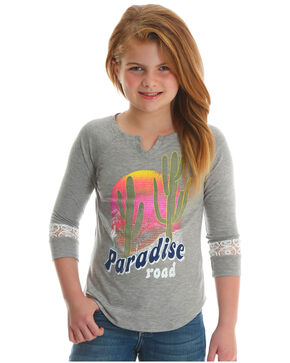 Wrangler Girls' Paradise Road Long Sleeve Graphic Tee, Grey, hi-res