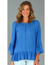 Wrangler Rock 47® Women's Blue Ruffle Sleeve Western Top, Blue, hi-res