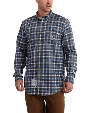 Carhartt Men's Flame Resistant Plaid Long Sleeve Shirt, Blue, hi-res