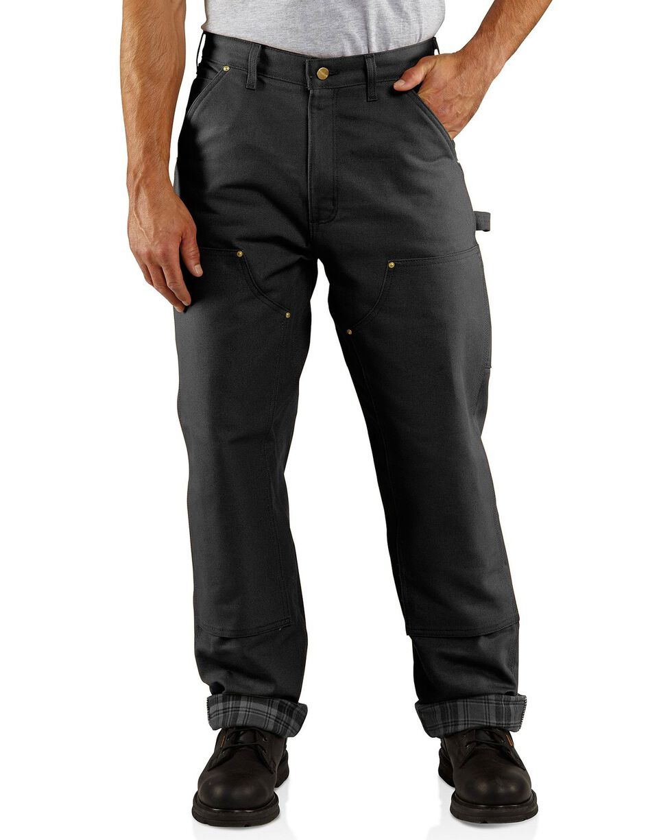 Carhartt Men's Flannel Lined Double Front Dungaree Pants, Black, hi-res