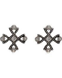 Montana Silversmiths Antiqued Crystal Braided Cross Earrings, , hi-res