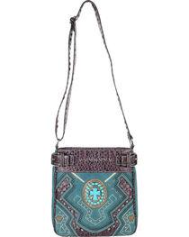 Accessories Plus Concho Cross Messenger Bag , , hi-res