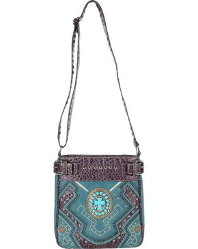 Accessories Plus Concho Cross Messenger Bag , Turquoise, hi-res