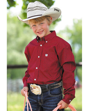 Cinch Boys' Red Rectangle Geometric Print Shirt , Red, hi-res