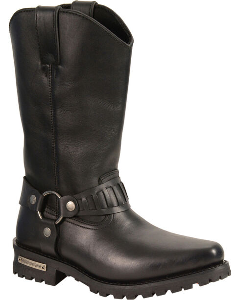 "Milwaukee Leather Men's 11"" Western Style Harness Boots - Square Toe, Black, hi-res"