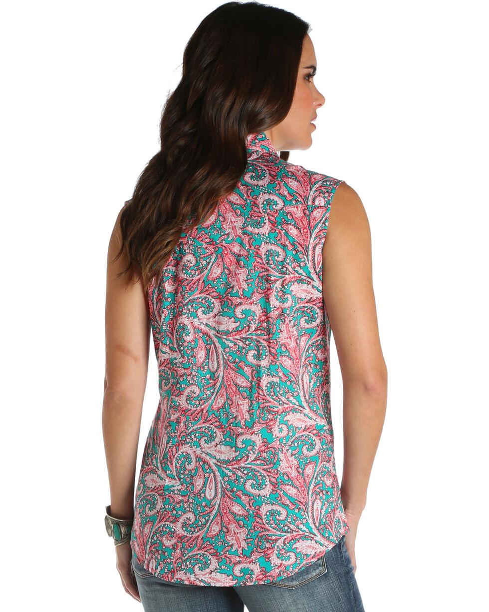 Wrangler Women's Paisley Print Sleeveless Top , Coral, hi-res
