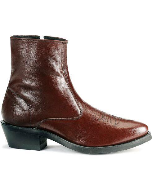 Old West Zipper Western Ankle Boots, Black Cherry, hi-res
