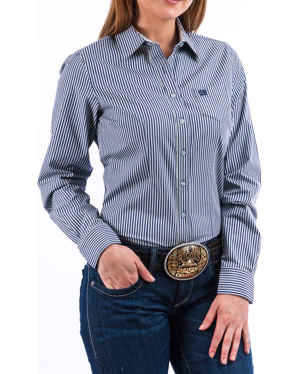 Cinch Women's Light Blue Stripe Long Sleeve Button Down Shirt, , hi-res