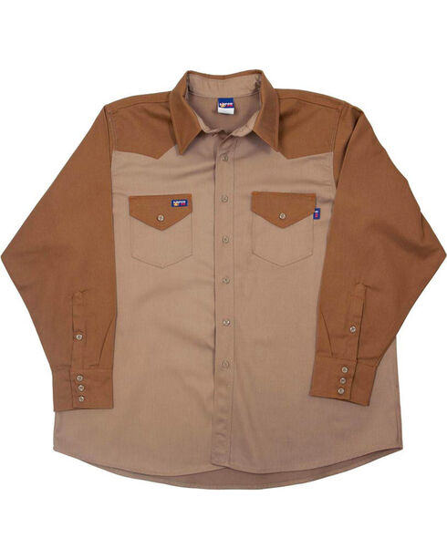 Lapco Men's Khaki FR Two-Tone Western Shirt - Big, Beige/khaki, hi-res