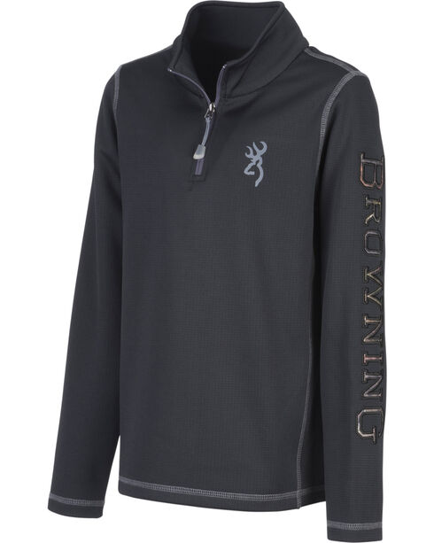 Browning Boys' Black Pitch Quarter Zip Sweatshirt, Black, hi-res