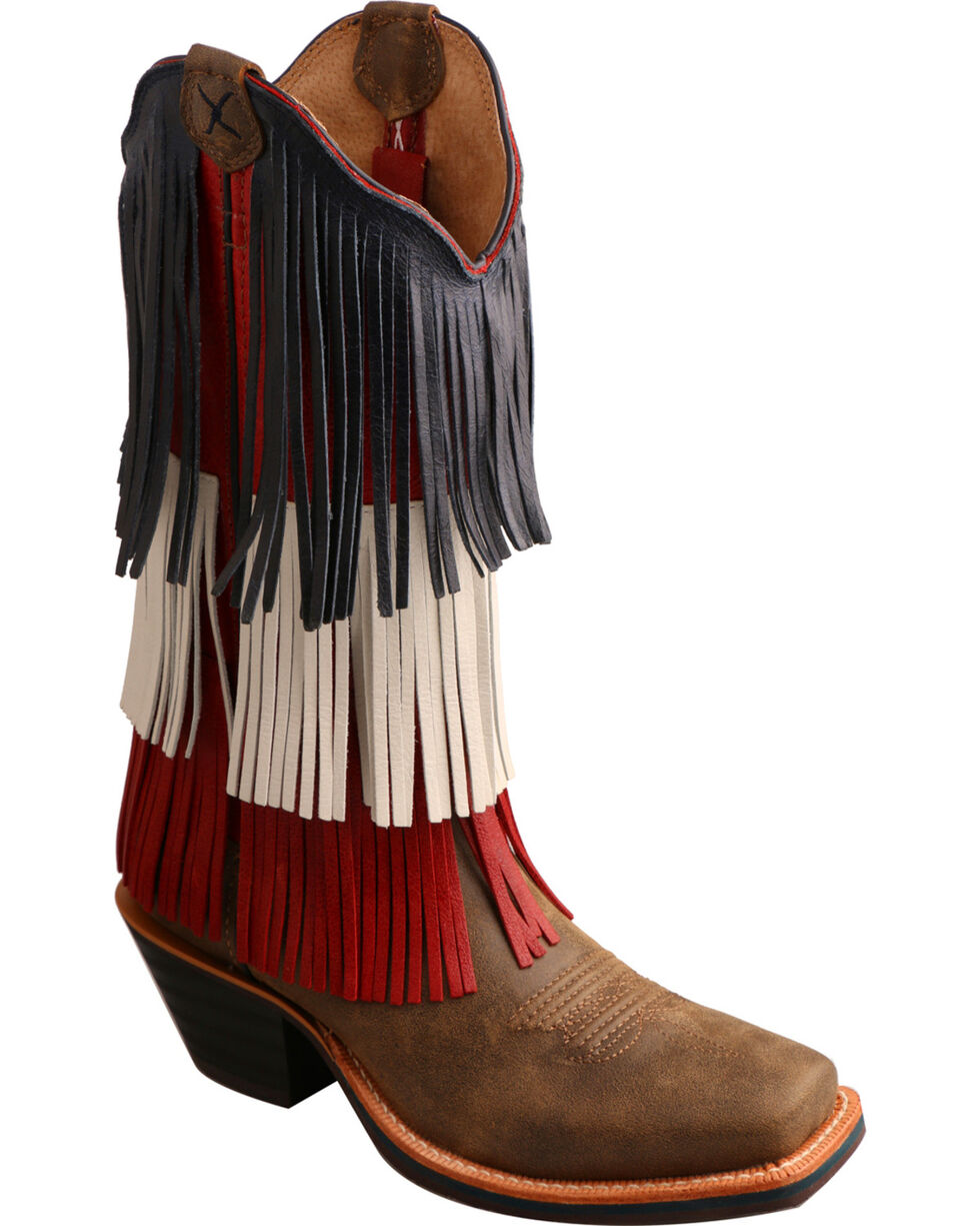 Twisted X Women's VFW Red White & Blue Fringe Western Boots, Bomber, hi-res