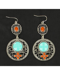 Blazin Roxx Turquoise and Red Stone Drop Earrings, , hi-res