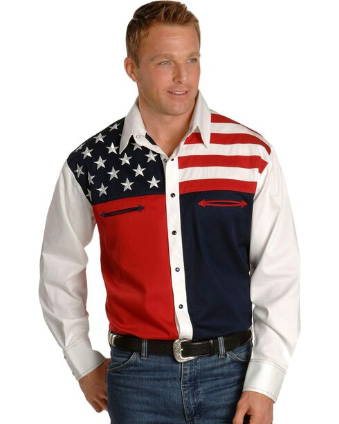Scully Men's American Flag Western Shirt, Blue, hi-res