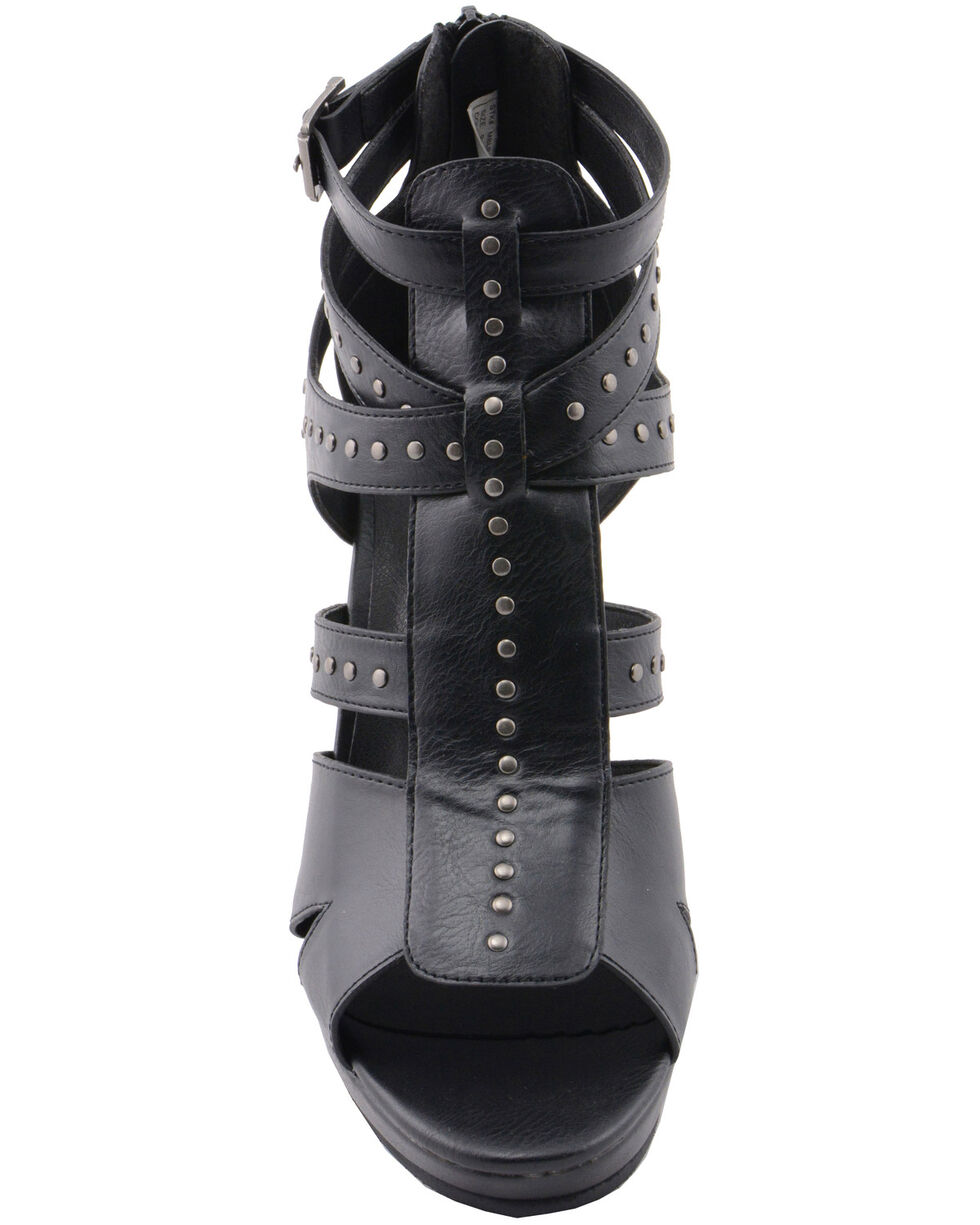 Milwaukee Performance Women's Studded Ankle Strap Sandals, Black, hi-res