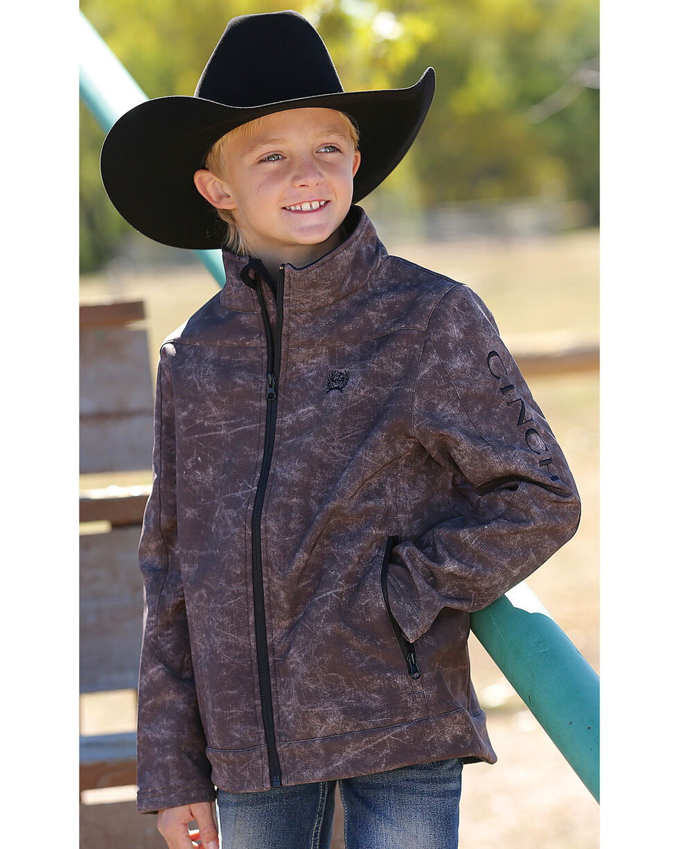 Cinch Boy's Print Bonded Jacket, Brown, hi-res