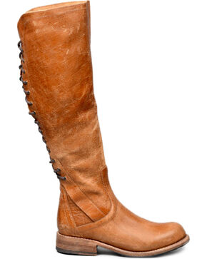 Bed Stu Women's Caramel Surrey Tall Lace Boots - Round Toe , Tan, hi-res