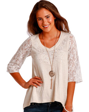 Panhandle Slim Women's Cream 1/2 Sleeve Swing Top , Cream, hi-res
