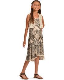 Jody of California Girls' Black Aztec Print Lace Dress , , hi-res