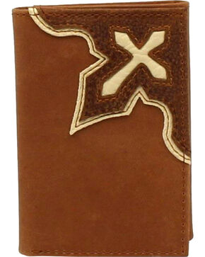 Nocona Men's Bold Cross Overlay Tri-Fold Wallet , Medium Brown, hi-res