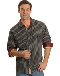Scully Men's Black Striped Western Shirt, , hi-res