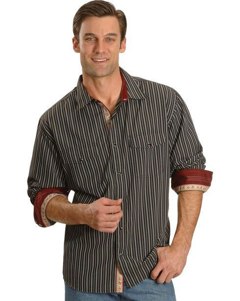 Scully Men's Black Striped Western Shirt, Black, hi-res