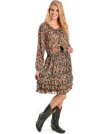 Scully Women's Feather Print Ruffle Bottom Dress, , hi-res