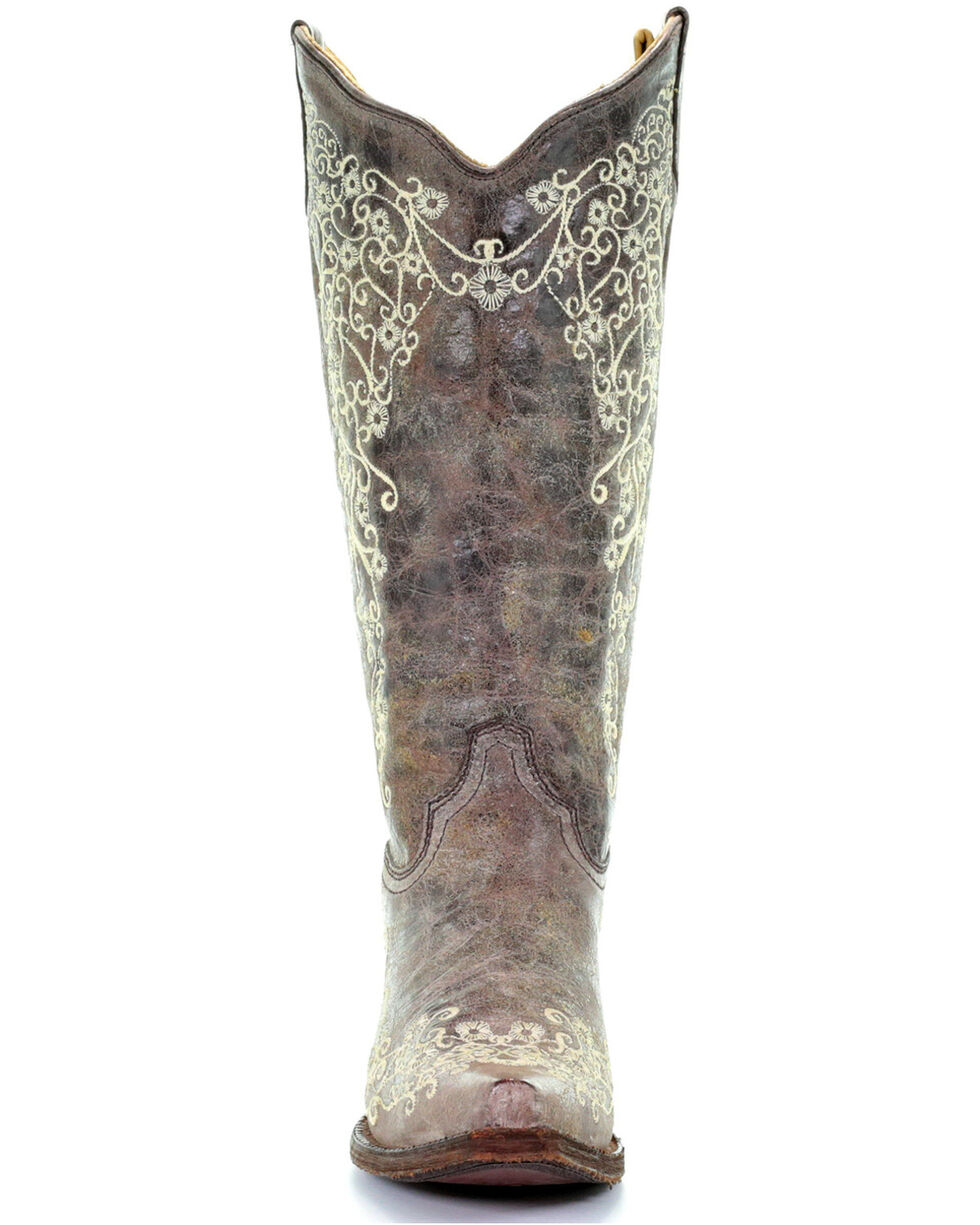 Corral Women's Bone Embroidery Western Boots, Brown, hi-res