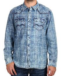 Cody James Men's Denim and Plaid Long Sleeve Shirt, , hi-res